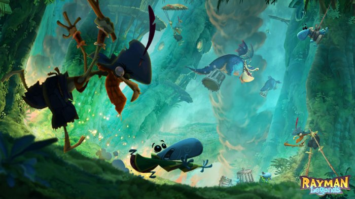 Rich colors and co-op platforming highlight Rayman Legends.